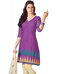 Lavis Women's violet & Cream Pure Cotton Dress Material