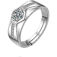 A Doitsa Ring Silber Retro-Stil Ringe Zirkonia Fingerring Herren Legierungs Schmuck Zubeh/ör Geeignet f/ür den Alltag