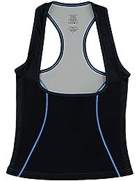 Delfin Spa Camiseta de Fitness Escote Debajo del Pecho, Black/Blue, Talla XL