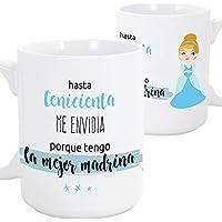 Tazas desayuno originales para regalar a madrinas - Hasta Cenicienta me envidia porque tengo la mejor madrina - 350 ml- Tazas con frases y mensajes alegres y divertidos