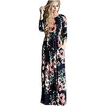 vestidos de mujer,Switchali Mujer manga larga bohemio Traje de baño para mujer Verano moda floral Vestido de playa maxi atractivo ropa nuevo 2017 barato