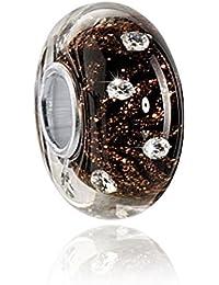 MATERIA Murano Glas Gold Beads schwarz mit Glitzerfäden - 925 Silber Muranoglas Beads schwarz mit 10 Zirkonia Steinen weiß #6