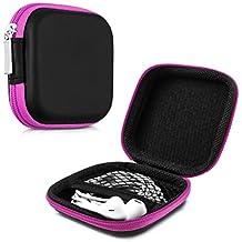 kwmobile Estuche rígido para In-Ear auriculares en rosa fucsia - Estuche de alta calidad para tus auriculares