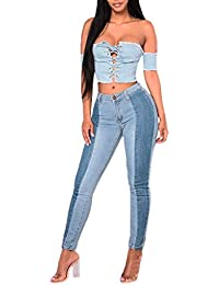 OYSOHE Damen Jeans Hosen Casual Spleißen Taste Reißverschluss Skinny Denim Hosen