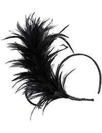 Fenteer Damen Feder Fascinator Haarreif Haarband Kopfband Haar-Accessoires Halloween Kopfstück
