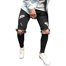 ba1842b97947c OverDose-Homme Jean Slim Homme avec Genoux Déchirés,Overdose Mode Jeans  Bleu Clair Stretch
