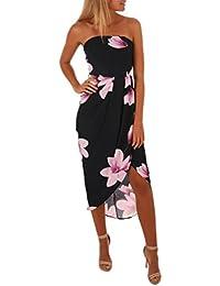c97df6e81577 Lazzboy Women Boho Dress Lady Beach Off Shoulder Summer Sundrss Maxi Dress