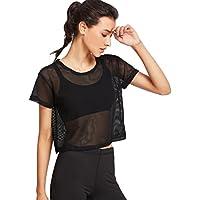 Yeamile Camiseta de Mujer Tops Suelto Blusa Causal Camisetas Ocasionales Blusa Negra de la Malla Tops de los Deportes Camiseta Superior de la Aptitud del Baile (Negro, L)