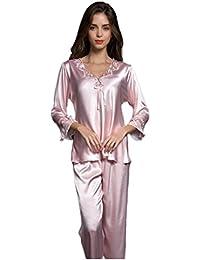 c2caca61d1684 Nunubee Nachtwäsche Damen Sexy Schlafanzüge Seide Pyjama Spitze Bow Design  Lange Ärmel V-Ausschnitt Heimservice