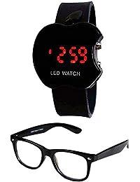 Sheomy Digital Black Dial Men's Women's & Boy's Girl's Watch & Sunglasses Combo - WTCH-0015