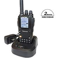 Wouxun KG-UV9D plus Walkie Talkie Profesional Largo Alcance Doble Banda VHF UHF PMR446 Impermeable IP55 Portatil Emisora Radioaficionado con 2PCS Batteries (2000/3000mAh) y el Cable de Programación para Coche/caza