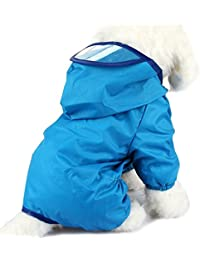 PETCUTE Perrito Perro Impermeable Mascota Impermeable Ropa Impermeable Impermeable Chaqueta Poncho con Tapa Para Perros Pequeños Medianos Grandes Azul