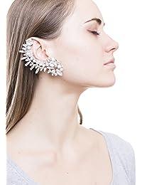 Happiness Boutique Damas Ear Cuff Llamativo Completo en Plata | Pendiente de Botón Ear Crawler Libre de Níquel