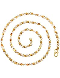 BFC- Stylish One Gram Gold Plated Pearl 18 Inch Chain For Woman, Man And Girls