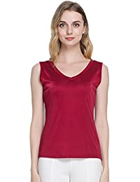 e8fed3f7a245 Tulpen Damen Seide Tops Aermellos T-Shirt Unterhemd in verschiedenen Farben