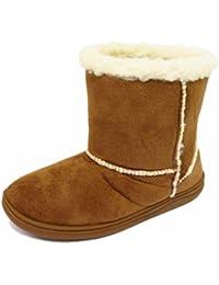 d039332424 HeelzSoHigh Girls Kids Tan Warm Snugg Infants Winter Flat Faux-Fur Lined  Boots Shoes Sizes