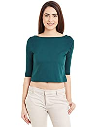 Miss Chase Womens Green Solid Crop Top