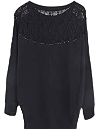 Women Fashion Long Batwing Sleeve Loose Casual Lace T-shirt Top Blouse S M L