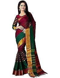Clothsfab Cotton Silk Saree (Red Tadka Yellow..dj_Red_Free Size)