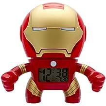 Despertador con luz infantil BulbBotz con figurita de Iron Man de Marvel   rojo/azul plástico   19 cm de altura   Pantalla LCD   chico chica   oficial