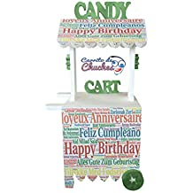 CARRITO DE CHUCHES Candy Cart Happy Birthday. para Decorar ,Reutilizable, Medidas 132CMS(