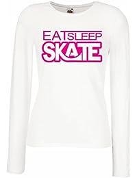 Camisetas de Manga Larga para Mujer Coma - sueño - patín - para los patinadores,