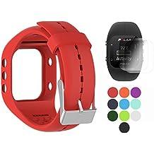 Polar A300 Banda con protector de pantalla, TUSITA Sustitución de silicona Correa Brazalete WristBand Accesorio para Polar Smart Watch (ROJO)