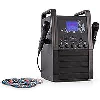 auna KA8B-V2 BK Impianto Karaoke con display integrato da 9 cm e lettore CD (2 microfoni dinamici inclusi, uscita video, altoparlanti a banda larga integrati, 3 CD+ G inclusi) - nero