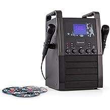 auna KA8B-V2 BK equipo de karaoke portátil con pack de 3 CDs (reproductor CD, dos micrófonos, pantalla TFT 3,5 pulgadas) -