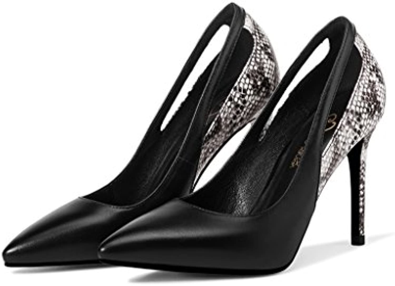 Wysm Chaussures Simples Bouche Peu Talons Profonde Femelle Pointue Fine 9.5cm Avec des Talons Peu Hauts Noir Serpentine Couleur...B07CQN2FZTParent c72fa0