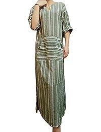 HAHAEMMA Vestito estivo Da Donna Abito Sciolto Manica Lunga Retro Lino  Cotone Abiti Lunghi Donna Eleganti Camicetta Largo Casual… d61fc8cbae0