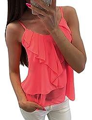 Camisetas sin Mangas Ruffle de Mujer,Honestyi Blusa Color sólido T-Shirt Tirantes Camisola Gasa Camisa Espalda Abierta Tops Ropa Abrigo Sudadera con Capucha Chaleco Primavera Verano