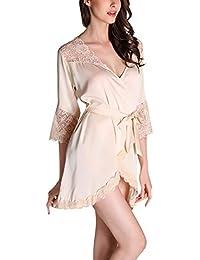 a72d59b531677 Ladies Dressing Gown Kimono Short 2018 Lace Smooth Satin Night Vintage  Warming Sche Bathrobe Robe Kimono