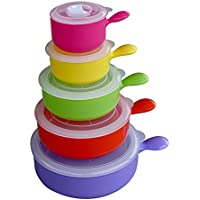 Evelots-Set di 5 ciotole in microonde e Freezer, portaoggetti da cucina, per alimenti