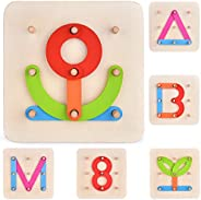 27 PCs Preschool Learning Toys Stacking Blocks Wooden Letters Number Shape Puzzles for Kids, Educational Toys