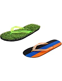 Charan Collections Unisex Combo Offer Flip Flops | Green Grass Slipper And Multi Colour Slippers | Diabetic And...