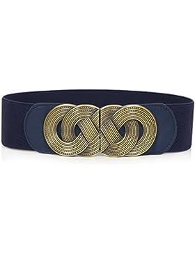 swall owuk Mujer Retro de ancho cintura cinturón metal ganchos Stretch elástico cintura cinturón azul azul