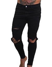 Jeans skinny uomo Jeans skinny stretch nero Pantaloni skinny denim strappati a vita alta New Fashion Handsome Cool