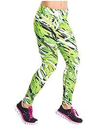 Nessi Damen lange Leggings OSLK Laufhose Fitnesshose Atmungsaktiv Grün
