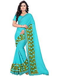 RIVA ENTERPRISE Women's Chiffon Saree With Blouse Piece (Riva63_12345_Sky Blue)