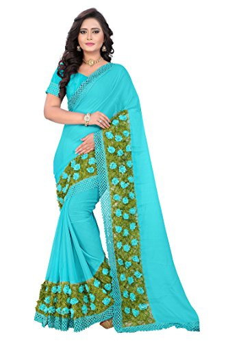 RIVA ENTERPRISE Women's Chiffon Saree With Blouse Piece (Riva63_12345_Sky Blue)