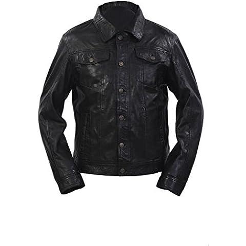 Hombres gorro Slim Fit Negro de cuero ocasional de la camisa de la chaqueta de los pantalones