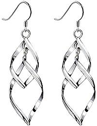Boucles d'oreilles, Isenretail torsion boucles d'oreilles femmes, S925 Plaqué argent longue bijoux glands pour fête danse présent