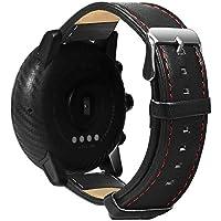 Shuzhen,Correa de Cuero para Reloj Inteligente Huami Amazfit Stratos 2 / 2S(Color:Negro)
