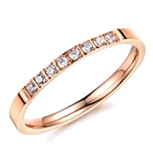 FJYOURIA Women's Rose Gold Plated Small Thin Stainless Steel Shiny Crystals Finger Rings Eternity Promise Engagement Wedding Band Rings (N 1/2)