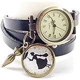 montre cuir bracelet 3 rangs cabochon bronze illustré vintage, mary poppins, film, cinéma, parapluie, noir