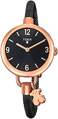 Reloj Tous Hold de acero IP rosado con correa de acero IP negro 700350225