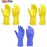Reusable Rubber Hand Gloves, Stretchable Gloves for Washing Cleaning Kitchen Garden, 3-Pair (Any color) | gloves for kitchen cleaning | rubber hand gloves | rubber hand gloves for cleaning | gloves for cleaning | reusable gloves | garden gloves | hand gloves for kitchen washing |
