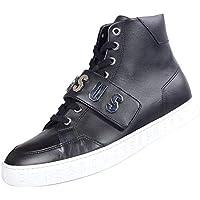 Versace Strap - Zapatillas de Piel de caña Alta con Suela Blanca, Color Negro