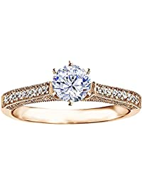 Silvernshine 1 Ct Round Cut Cubic Zirconia Diamond Solitaire Engagement/Wedding Ring In 14k Rose Gold FN